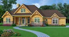 Introducing a brand new exclusive ranch house plan 8233. This one-story home features split bedrooms, a large center great room with 10' ceilings and an optional walkout basement. Check out additional images and the floor plans: http://www.thehousedesigners.com/plan/holly-hill-9233/