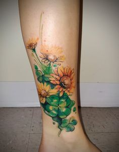 Flower and Four Leaf Clover Tattoo by Siobhan Alexander
