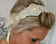 Tocado de novia KIARA diadema de cinta de diamante por BrassLotus