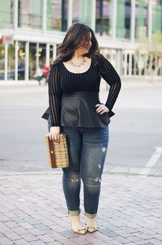 Love this for an afternoon-into-evening date night ootd! Peplums are gorgeous on plus size ladies, and if you're afraid of stripes, this is a good intro piece to get you more comfortable.
