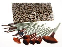 14.99$  Buy now - ISMINE 24PCS/ Set new fashion professional nylon makeup brushes set  with free leopard grain comestic bag ISMINE brand makeup  #magazineonlinewebsite