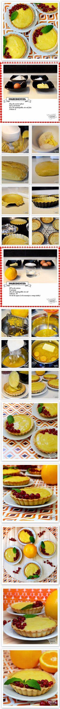 tartaletas de naranja, tartaletas, crema, grosella, receta,