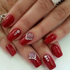 Red Nail Designs, Beautiful Nail Designs, Rhinestone Nails, Perfect Nails, Red Nails, Christmas Nails, Nails Inspiration, E Design, Nail Polish