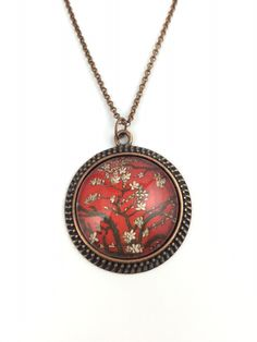 Van Gogh Almond Blossoms Necklace- Van Gogh Art Key Chain - Red - Vintage Round - 5 Finishes Available by ChutneyBlakeDesigns on Etsy