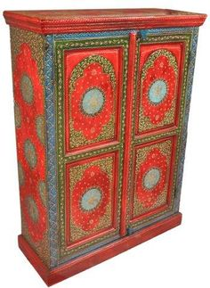 "S Antiques Indian on Twitter: ""Embossed Hand Painted Almirah Cabinet from india #furniture #interiordesign #cabinet #indian , http://t.co/cfLhilx0sO http://t.co/k4n6CfNlYV"""