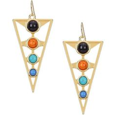 Yoins Triangle Bead Embellishment Earrings (275 INR) ❤ liked on Polyvore featuring jewelry, earrings, gold, yellow gold jewelry, yellow gold earrings, gold jewellery, bead jewellery and earrings jewelry