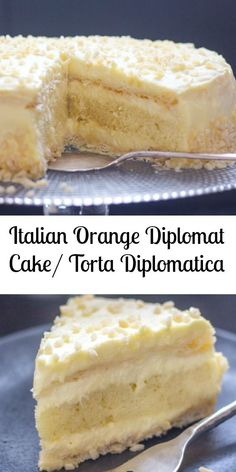Italian Orange Diplomat Cake / Torta Diplomatica Now this is a cake! An Italian Orange Diplomat Cake or also known as Torta Diplomatica. Two layers of puff pastry, a layer of sponge cake filled with a creamy orange Italian Pastry Cream. Italian Cake, Italian Desserts, Köstliche Desserts, Delicious Desserts, Italian Sponge Cake, Italian Foods, Italian Cookies, Pastry Recipes, Cake Recipes