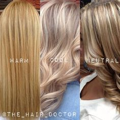 The Difference Between Warm, Cool and Neutral Blondes. #blondes #blonde #haircolor #hair #summer #highlights