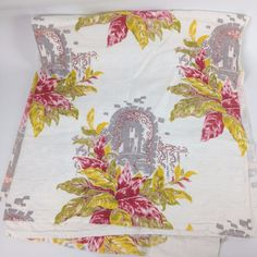 VTG Bark Cloth Mid Century Fabric Curtain Panel Ripped Torn CUTTER Floral Pink #Unknown