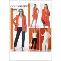 Misses Notch-Collar Back-Pleat Jacket, Top, Dress and Trousers Vogue Sewing Pattern 9176.