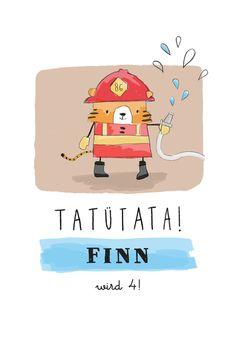 Geburtstagseinladung Feuerwehr by Petite Alma für Geburtskarten.com #Geburtstagskarte #Feuerwehr