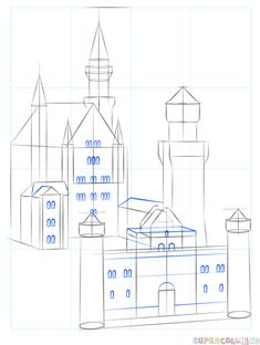Drawing For Beginners How to draw the Neuschwanstein Castle step by step. Drawing tutorials for kids and beginners. Drawing Tutorials For Kids, Drawing For Beginners, Drawing Tips, Castle Sketch, Castle Drawing, House Drawing, Pirate Ship Drawing, Beginner Sketches, Architecture Drawing Art