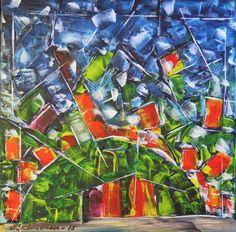 Gravhøjen akryl på lærred  (40x40) 2015 af Svend Christensen