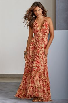 A sultry, boho-chic maxi with halter-tie neck and bare back, this warm, exotic island print is accented with gold bead embellishment at the neckline and around the skirt. Classy Trends, Boho Trends, Flowy Skirt, Dress Skirt, Latest Fashion Dresses, Casual Dresses, Floral Dresses, Casual Outfits, Boho Fashion