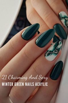 21 Charming And Sexy Winter Green Nails Acrylic: Don't Miss. - Looking for best winter nail craftsmanship thoughts? Snap here, and you will get a rich rundown of WinterGreen Nails Acrylic, which must experience your desires. Stylish Nails, Trendy Nails, Cute Nails, My Nails, Kylie Nails, Fall Acrylic Nails, Almond Acrylic Nails, Acrylic Nail Designs, Nagellack Trends