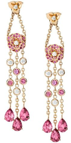 Piaget Rose earrings in 18K rose gold set with 10 brilliant-cut diamonds, 70 pink sapphires and 12 pink tourmalines.