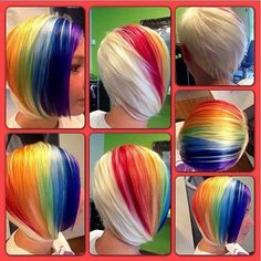 Rainbow hair! I'm very impressed with the placement and no blurring or bleeding onto the other colors or the platinum blonde.
