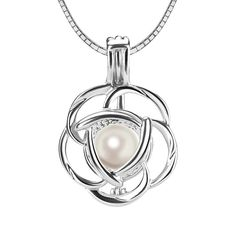 Design Pearl Cage for Women and Girls 925 Sterling Silver Mickey Heart Pendant Necklace for Pearl Essential Oil Diffuser Lockets