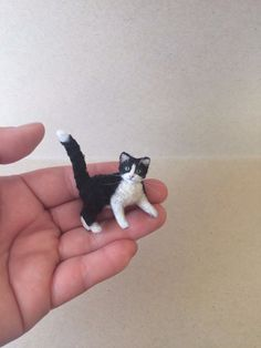 OOAK Dollhouse Miniature Pet Tuxedo Kitten Cat Hand made by Artist 1:12 | eBay