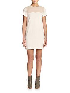DKNY Silk-Contrast Shift Dress