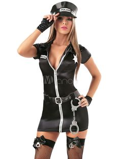 Black Cartoon Characters Zipper Sexy Cop Costume For Woman