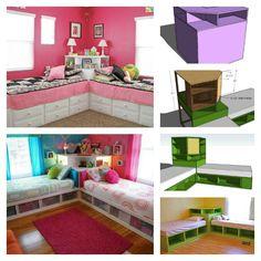 DIY Corner Unit for the Twin Storage Bed – Space Saving Idea – Diy Furniture Ideas Bedroom Ideas For Teen Girls Small, Bedroom Storage For Small Rooms, Twin Storage Bed, Diy Storage, Corner Twin Beds, Bed In Corner, Corner Unit, Twin Girl Bedrooms, Girls Bedroom