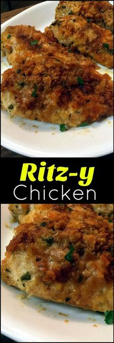 This Ritz-y Chicken is beyond moist and flavorful. Made with ritz crackers Baked Chicken Recipes, Turkey Recipes, Meat Recipes, Dinner Recipes, Cooking Recipes, Dinner Ideas, Chicken Meals, Yummy Recipes, Recipes