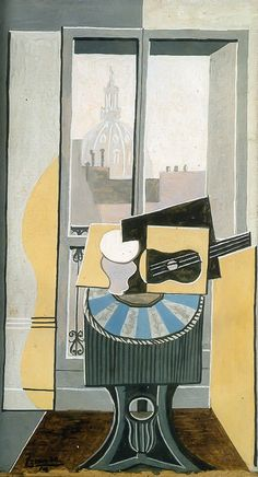 Pablo Picasso (1881-1973), Still Life in front of a Window overlooking the Eglise St. Augustin (1919), oil on canvas. Via WikiArt.
