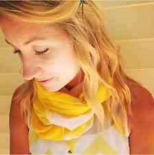 HiMaNi Muslin Cotton Scarf Oblong Yellow White Ombre