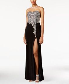 Crystal Doll Juniors' Beaded Strapless Gown - Dresses - Juniors - Macy's