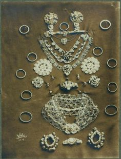 The jewelry of the Ruth St. Denis' first Radha costume. From New York Public Library Digital Collections.