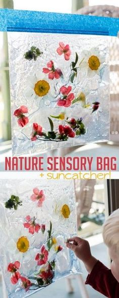 Sensory bags are easy and fast to make, gives the kids something to explore, and they're entertaining for toddlers! This nature sensory bag is no exception. by alberta