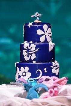wedding cakes disney Tropical hibiscus and plumeria decorate this deep blue cake. Lilo And Stitch Cake, Birthday Parties, Birthday Cake, Angel Cake, Blue Cakes, Party Decoration, Decorations, Boy Baby Shower Themes, Disney Birthday