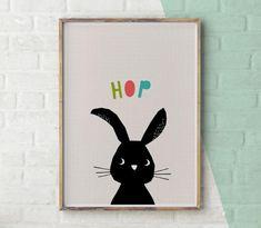 Christening Gift, Nursery Animal Prints, Woodland Nursery Decor, Rabbit Print, Baby Girl Gift, Wall Art Printable Download, Illustration by YoYoStudio