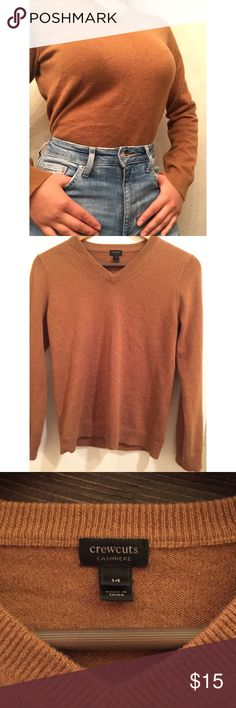 Cashmere V-neck Sweater 100% real cashmere V-neck sweater from Crewcuts! I know it says size 14 but for women it fits like a small! Cute and perfect for sweater weather! Hits right at the hip and can be tucked in to jeans for a cute look! Great condition! Crewcuts Sweaters V-Necks