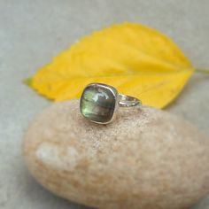 Green Fire Labradorite Ring in Sterling Silver by FineSilverStudio