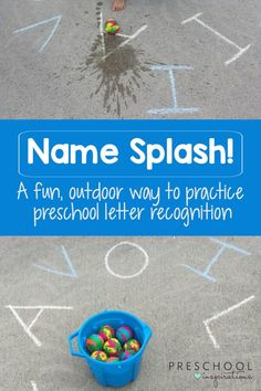 A fun outdoor learning activity to reinforce the letters in a child's name! Once those are mastered, this game has a multitude of applications. Perfect for preschool or homeschool! games for kids Name Activities Preschool, Outdoor Activities For Kids, Preschool Letters, Letter Activities, Preschool At Home, Outdoor Learning, Learning Letters, Preschool Classroom, Learning Activities