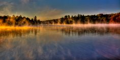 #ADK #Adirondacks - Misty Morning on Old Forge Pond - Old Forge, New York.
