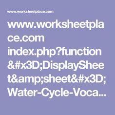 www.worksheetplace.com index.php?function=DisplaySheet&sheet=Water-Cycle-Vocab&links=2&id=&link1=241&link2=366