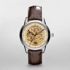 Emporio Armani Watch New Mens Meccanico Carve Flowers Armani Watches For Men, Amber Crystal, Brown Leather Watch, Discount Watches, Automatic Watch, Stainless Steel Case, Emporio Armani, Cool Watches, Gifts For Dad