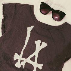 Gray Brandy Melville LA Bones Crop Shirt Excellent condition. Worn once. Brandy Melville Tops Crop Tops