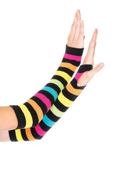 Pair of 2 neon rainbow gauntlet gloves with thumb holes. (Includes a set of 2 gloves) Striped Neon Rainbow Gauntlet Gloves, Neon Rainbow Gauntlet Gloves Striped Gloves, Coast Fashion, Rave Accessories, Fashion Accessories, Gauntlet Gloves, Festival Gear, Neon Rainbow, Halloween Costume Accessories, Halloween Costumes