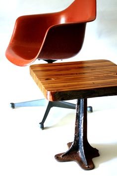 wearemfeo:  Reclaimed wood side table with repurposed cast iron stand. Design by MFEO.
