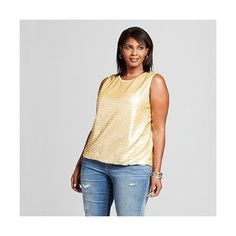 Women's Plus Size Sequin Tank Gold (€18) ❤ liked on Polyvore featuring plus size women's fashion, plus size clothing, plus size tops, gold, plus size, gold shimmer top, sequin shirt, print shirts and women's plus size tops