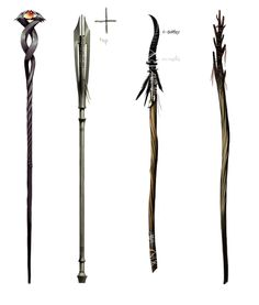Concept art for staves Hawke Dragon Age, Dragon Age Inquisition, Larp, Wizard Staff, Maleficarum, Weapon Concept Art, Fantasy Weapons, Medieval Fantasy, Dungeons And Dragons