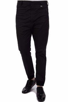 """Hugo Boss Men's Chinos """"Hanks"""" Pants in Black Cotton Blend Tapered Leg 34R $195 #HUGOBOSS #KhakisChinos"""