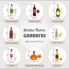 Bora? Porque hoje é sexta-feira!!!  ➡ Dimensões de algumas garrafas padrões para ajudar na hora de projetar aquele barzinho, adega ou nicho de bebidas! #ficaadica #medidacerta #ergonomia #neufert #boratomaruma #cantinhodosguerreiros #cerveja #beer #vinho #champagne #wine #vodka #alcohol #alcool #bebida #loucosporcerveja #gelada #ariaarquitetura