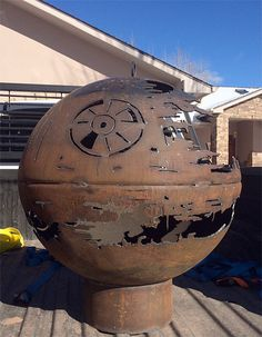 Death Star Stove. Star Wars inspired fire pit designed and made by 84-year-old grandfather as a Christmas present for his grandchildren.