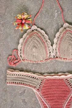 Crochet bikini set in cream and salmon, Crochet swimsuit, Crochet swimwear… Motif Bikini Crochet, Crochet Bra, Crochet Crop Top, Crochet Crafts, Crochet Clothes, Crochet Projects, Crochet Stitch, Beau Crochet, Crochet Mignon
