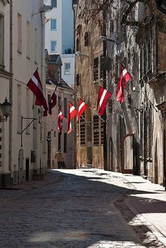 Street in Riga Old Town. Celebrations.